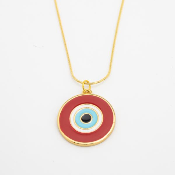 Colar Dourado Olho Grego Vermelho