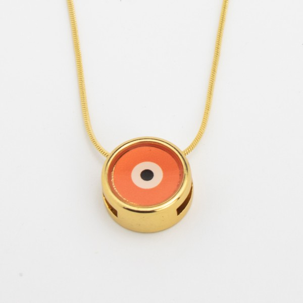 Colar Dourado Olho Grego Laranja