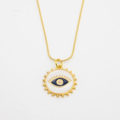 Colar Dourado com Olho Grego Branco e Azul
