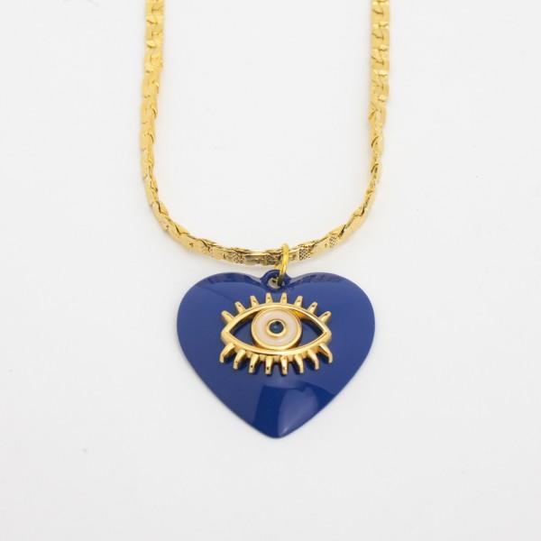 Colar Dourado com Coração Olho Grego Azul