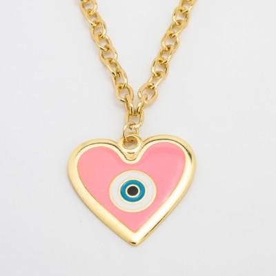 Colar Dourado com Coração Olho Grego Rosa