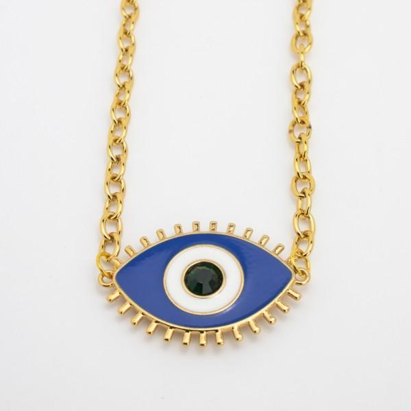 Colar Dourado Olho Grego Azul