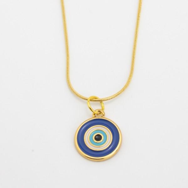 Colar Dourado Bolinha Olho Grego Azul