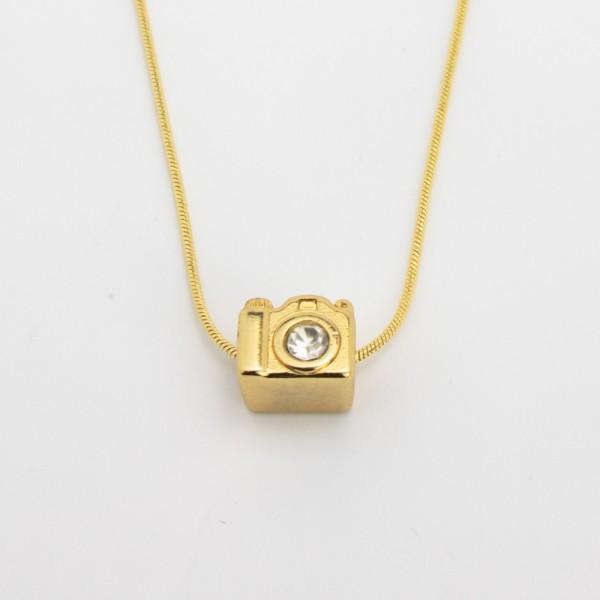 Colar Dourado Máquina Fotográfica