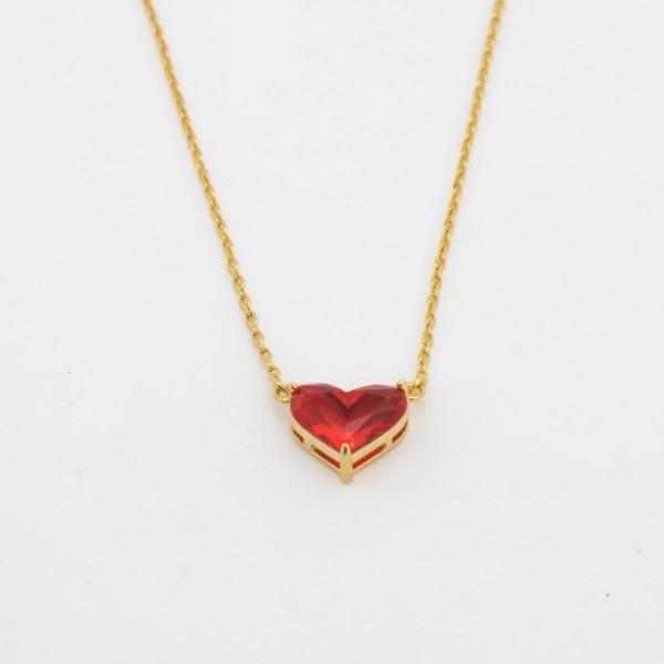 Colar Dourado Mini Coração Vermelho