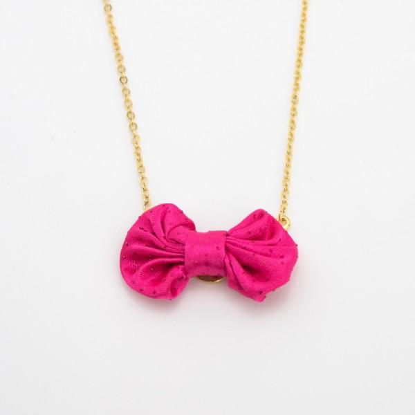 Colar Dourado com Laço Pink