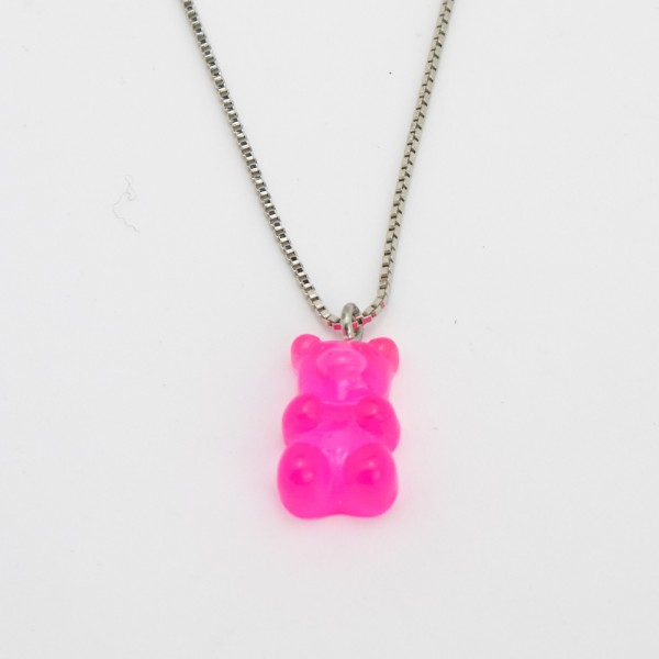 Colar Prateado Gummy Bear PINK