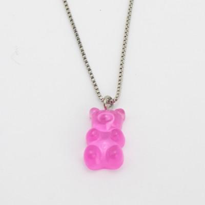 Colar Prateado Gummy Bear ROSA CLARO