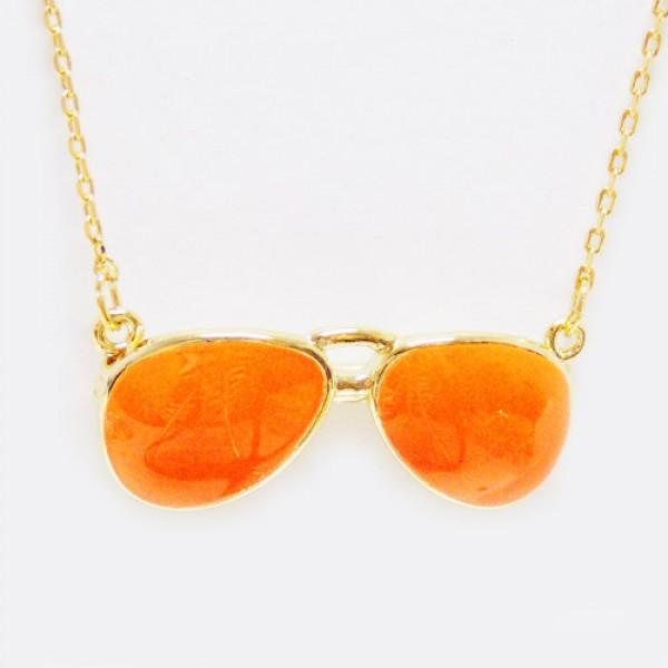 Colar Óculos de Sol Neon Laranja