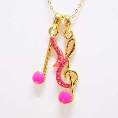 Colar Pauta Musical Neon Pink
