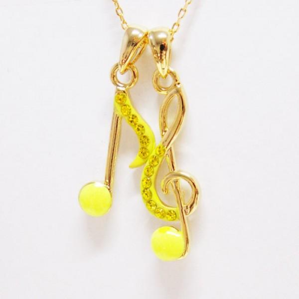 Colar Pauta Musical Neon Amarela