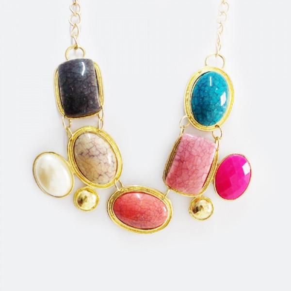 Maxi Colar Pedras Coloridas